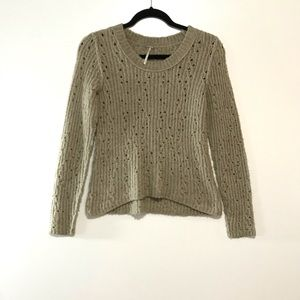 Free People Pointelle High Low Sweater Wool Small